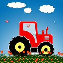 Red tractor in a field by Gaspar Avila