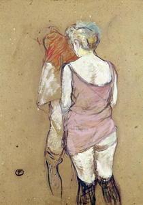 Two Semi-Nude Women at the Maison de la Rue des Moulins by Henri de Toulouse-Lautrec
