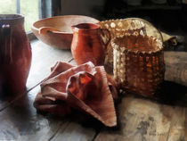 Clay Pitchers Bowl and Baskets by Susan Savad
