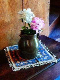 Pink and White Peonies in Green Jug by Susan Savad