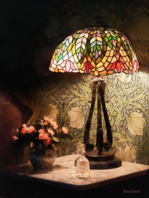 Stained Glass Lamp and Vase of Flowers by Susan Savad