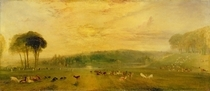 The Lake, Petworth: Sunset, Fighting Bucks von Joseph Mallord William Turner