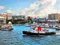 Tugboat Going Into Hamilton Harbour Bermuda by Susan Savad