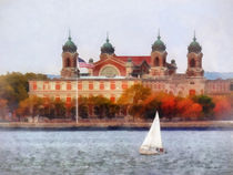Sailboat by Ellis Island von Susan Savad