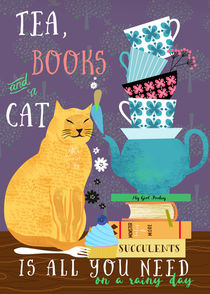 Tea, books and a cat by Elisandra Sevenstar