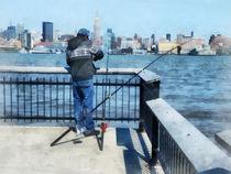 Man Fishing Off Hoboken Pier by Susan Savad