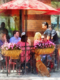 Hoboken NJ - Dog Waiting by Cafe by Susan Savad