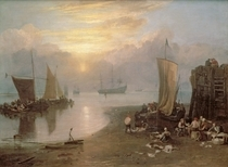 Sun Rising Through Vapour: Fishermen Cleaning and Selling Fish von Joseph Mallord William Turner
