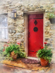 Geraniums by Red Door by Susan Savad