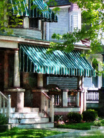 House With Green Striped Awnings von Susan Savad
