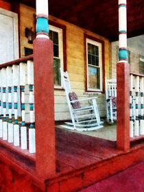 Porch With Red White and Blue Railing von Susan Savad