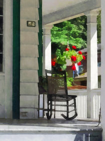Porch With Rocking Chair and Geraniums by Susan Savad