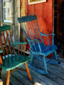 Blue Chair Against Red Door by Susan Savad