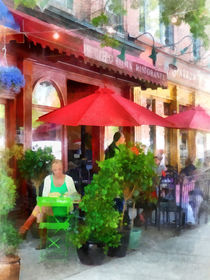 Hoboken NJ - Outdoor Cafe With Red Umbrellas by Susan Savad