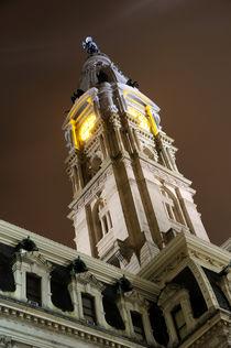 Philadelphia City Hall Clock Tower At Night by Gary Whitton