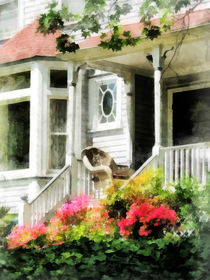 Azaleas by Porch With Wicker Chair by Susan Savad