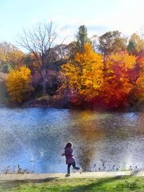 Little Girl Skipping Rocks by Susan Savad