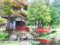 Japanese Garden With Red Bridge by Susan Savad