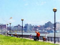 Hoboken NJ - Flying a Kite at Pier A Park Hoboken NJ. by Susan Savad