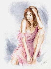 Schönes Girl im sexy Kleid - erotische Malerei von Marita Zacharias