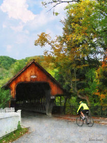 Bicyclist at Middle Bridge Woodstock VT by Susan Savad