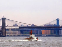 Coast Guard Cutter Near Brooklyn Bridge by Susan Savad