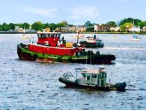 Norfolk VA - Police Boat and Two Tugboats by Susan Savad