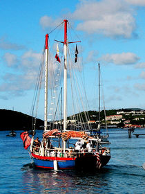 Caribbean - Red White and Blue Boat at St Thomas by Susan Savad