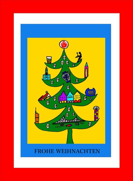 frankfurter weihnachtsbaum zeichnung als poster und. Black Bedroom Furniture Sets. Home Design Ideas