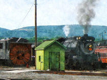 Steam Locomotive Coming into Train Yard by Susan Savad