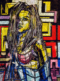 Oil Painting of Fragmented Girl in Multicoloured Paint by John Williams