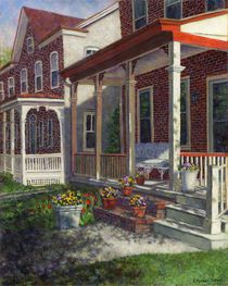 Porch with Pots of Pansies von Susan Savad