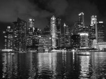 Singapore Skyline Waterfront Night BW by James Menges