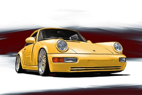 Porsche-911-964-yellow