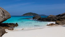 White sand beach and turquoise blue sea by wsfflake