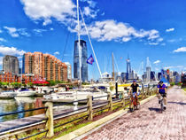 Bicycling Along Liberty Landing Marina by Susan Savad