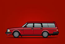 Volvo 245 Brick Wagon 200 Series Red von monkeycrisisonmars