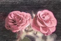 A pair of roses in sketch1 on dark background by Peter-André Sobota