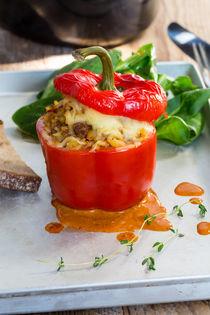 Gefüllte Paprika mit Hackfleisch Sauce und Käse überbacken von wsfflake