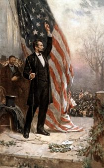President Abraham Lincoln Giving A Speech by warishellstore