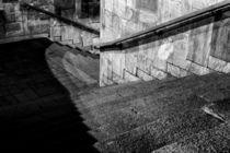 Diagonal Staircase Monochrome Leading Down by John Williams
