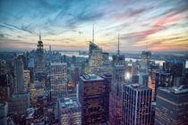 Manhattan New York Sonnenuntergang / Sunset NYC Skyline by Thomas Schaefer