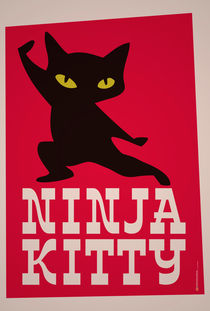 Ninja Kitty Retro Poster by monkeycrisisonmars