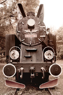 Antique locomotive sepia toned by Arletta Cwalina