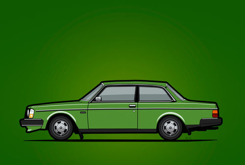 Illu-volvo-242-coupe-green-poster