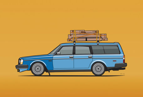 Volvo-245-wagon-blue-ikea-yellow-bg-canvas