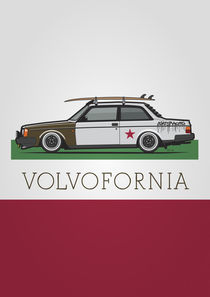 Volvofornia Slammed Volvo 242 240 Coupe California Style Poster by monkeycrisisonmars