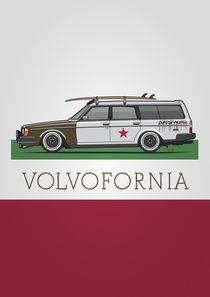 Volvofornia Slammed Volvo 245 240 Wagon California Style Poster von monkeycrisisonmars