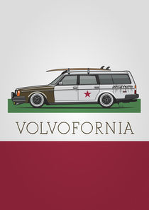 Volvofornia Slammed Volvo 245 240 Wagon California Style Poster by monkeycrisisonmars