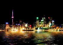 Toronto Skyline At Night From Polson St Reflection by Brian Carson